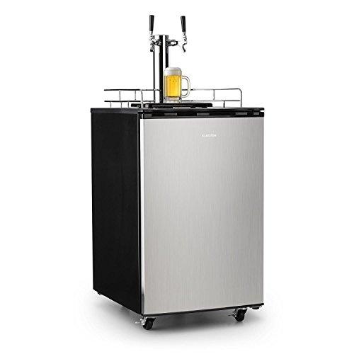 Klarstein Big Spender - Bierfass-Kühlschrank, Getränkefasskühlschrank, Komplettset, CO2 Fässer bis 50 L, 4 Bodenrollen, Temperatur regulierbar, inkl. 2 x Zapfsäule und Gasflasche, schwarz