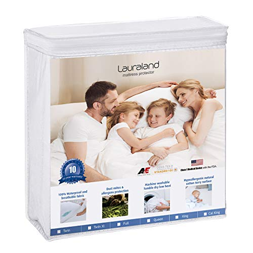 Lauraland Queen Size Mattress Protector, Hypoallergenic Breathable Waterproof Protector, Vinyl Free Soft Cotton Terry Surface Protector- 10 Year Warranty, White