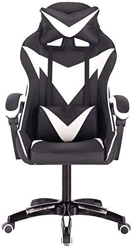 N&O Renovation House Ergonomischer Gaming-Stuhl Racing Style Verstellbarer PU-Leder-Bürostuhl mit hoher Rückenlehne Kopfstütze und Massage-Lendenkissen (Größe : Rot Weiß)