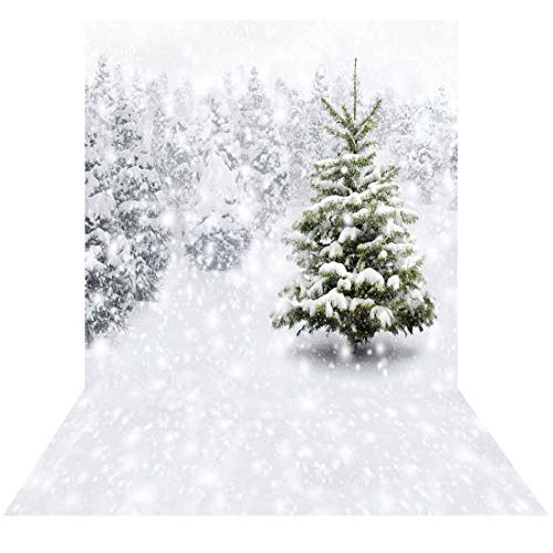Allenjoy 5x7ft Fabric Photography Christmas Photo Backdrops Xmas New Year Winter Forest Background for Kids Baby Shower Newborn Snow Trees Holiday Party Decoration Pine Snowy Photo Booth Supplies