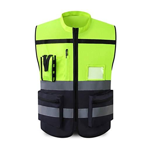 La seguridad de la cremallera del chaleco/ Chaleco reflectante, montar a caballo de seguridad Advertencia de prendas protectoras de seguridad de construcción reflector de seguridad Chaleco de