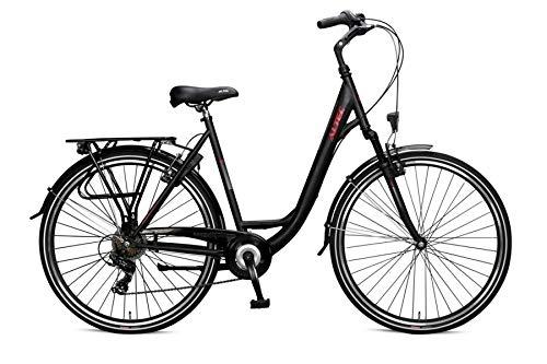 28 Zoll Damenfahrrad Cityfahrrad Damen Mädchen City Trekking Fahrrad Rad Bike Cityrad Damenrad Trekkingrad Trekkingfahrrad Gabelfederung Beleuchtung 7 Shimano Gang Verona Night Black Schwarz Matt