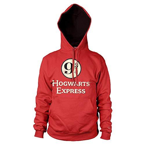 HARRY POTTER Oficialmente Licenciado Hogwarts Express Platform 9-3/4 Sudaderas con Capucha (Rojo), X-Large