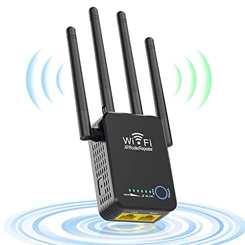 Repetidores WiFi, 1200Mbps Amplificador Señal WiFi 5G & 2.4G Repetidor WiFi Largo Alcance con Ap Repeater Router Modos, 4 Antenas Cobertura de Señal hasta 2500 Pies, 2 Puerto LAN WAN, WPS