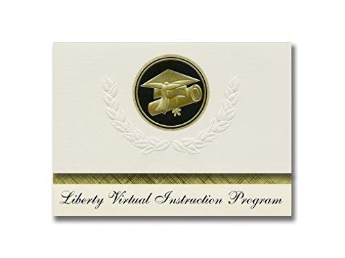 Signature Announcements Liberty Virtual Instruction Program (Bristol, FL) Graduation Ankündigungen, Presidential Elite Pack 25 Cap & Diplom-Siegel, Schwarz & Gold