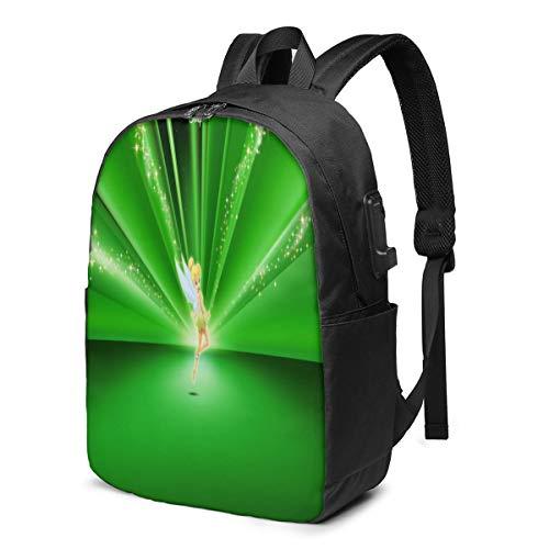 Caelpley Zaino per Il Tempo Libero per Ragazze e Ragazzi, Grande Zaino per Laptop, Zaino da Viaggio Impermeabile per Uomini e Donne, Disney Tinker Bell Green Glitter Radial Pattern