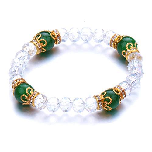 Jewellery Bracelets Bangle For Womens Higth Quality Round Green Elastic Bracelet Fashion Stone Beaded Bracelets Bangle Handmade Crystal Jewelry-Antique_Silver_Plated