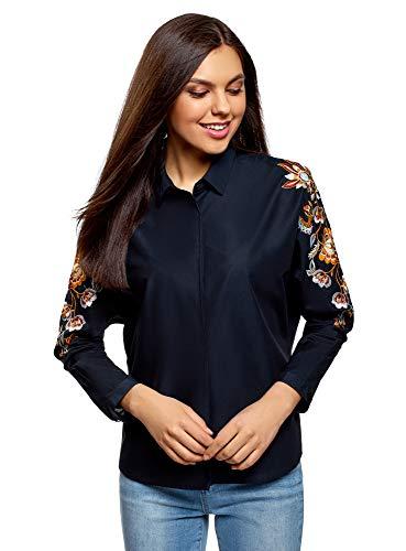 oodji Ultra Damen Baumwoll-Bluse mit Stickerei, Blau, DE 38 / EU 40 / M
