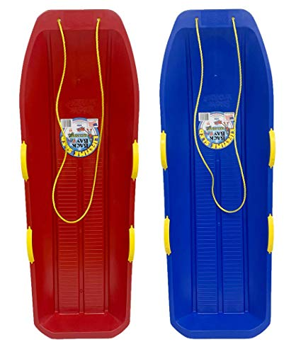 Back Bay Play Lifetime Snow Sled Two-Rider Downhill Outdoor 2 Packs - Toboggan for Kids and Adults -Durable Sleds for Winter Sledding - Ages 5 and Up- Made in USA (Arctic Blue & Cherry Red)