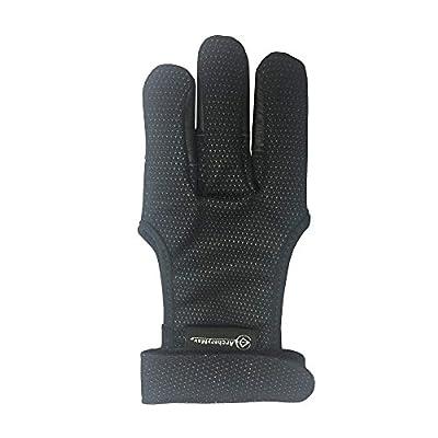 ArcheryMax Handmade Leather Three Finger Archery Gloves , Black ,Small