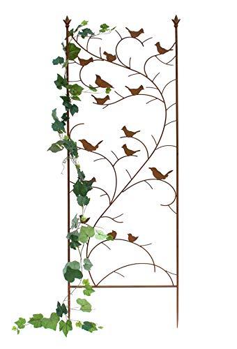 DENK Rankhilfe Metall mit 15 Vögel 150 cm Blumengitter Freistehend Rankgitter 120705 Steckzaun Kletterhilfe