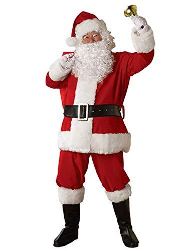 ShiyiUP Weihnachtsmann Kostüm Nikolaus Kostüm Weihnachtsanzug Herren Weihnachten Verkleidung Santa Claus Costume (Rot Kostüm, Einheitsgröße)