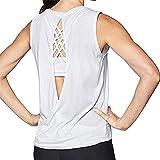 Fenverk Damen Tank Tops Kurzarm RüCkenfrei Shirts Yoga Workout Sport Top Fitness Gym Laufen Shirt...