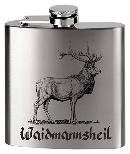 KMC Austria Design Flachmann Metall - Bedruckt anstelle Gravur - für den Jäger & Jagdt Fan - Waidmannsheil Hirsch