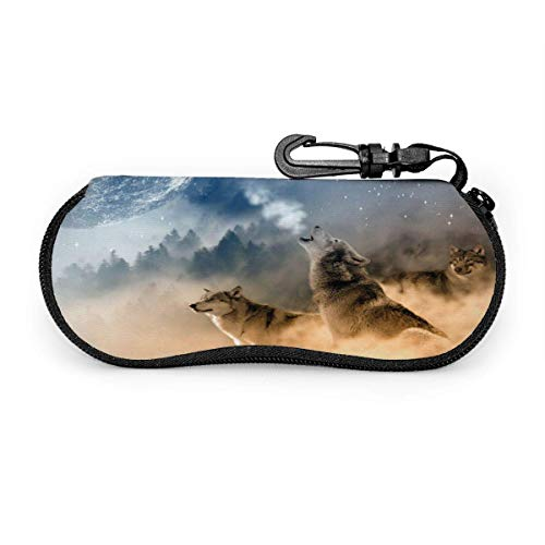 Arvolas Brillenetui 3 Musketiere Wölfe Howling Moon Spectacle Case Box Tragbare Reisesonnenbrillenhalter Clamshell Glasses Protective
