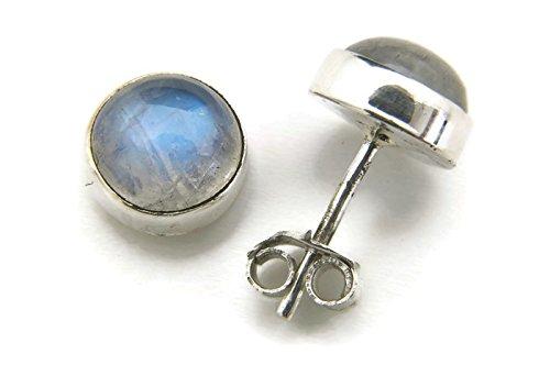 Mondstein Ohrstecker 925 Silber Sterlingsilber Ohrringe weiß (MOS 42-04)
