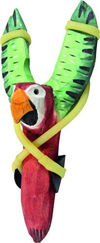 Schleuder Steinschleuder Zwille Papagei ca. 20 cm die Holzkiste Mittelalter handgeschnitzt Spielzeug