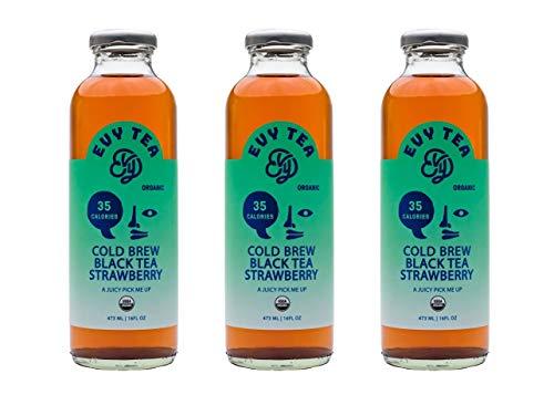 Evy Cold Brew Iced Tea, Organic Black Tea Strawberry, Full Case , 12 Bottles, 16 fl oz each.