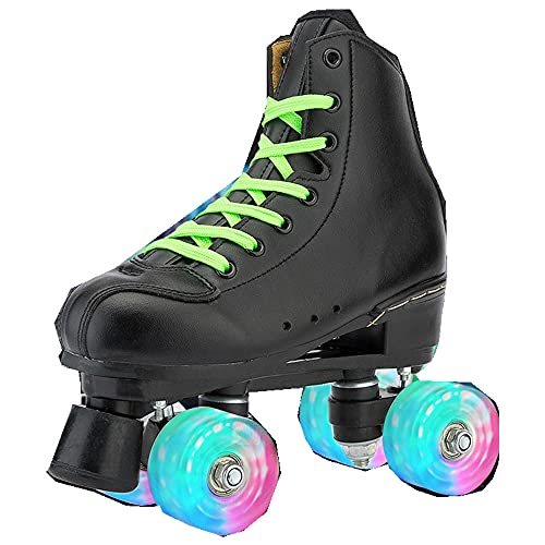 KaO0YaN Adult Double-Row Skates for Skating Rinks, Unisex Four-Wheel Flashing Speed Solid Color Skating Roller Skates For Indoor Outdoor-Rueda Flash_44