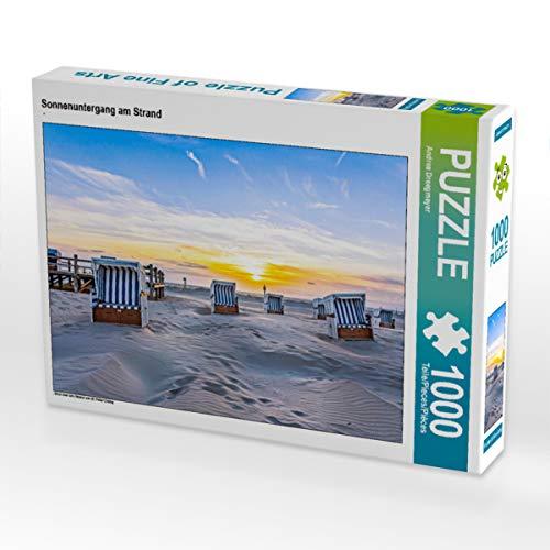 CALVENDO Puzzle Sonnenuntergang am Strand 1000 Teile Lege-Größe 64 x 48 cm Foto-Puzzle Bild von Andrea Dreegmeyer