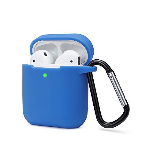 KOKOKA Custodia in Silicone da Appendere Compatiblile con AirPods 2 & 1, Custodia Protettiva per AirPods, Airpods case coverLED anteriore Visibile Moschettone Portachiavi, Blu