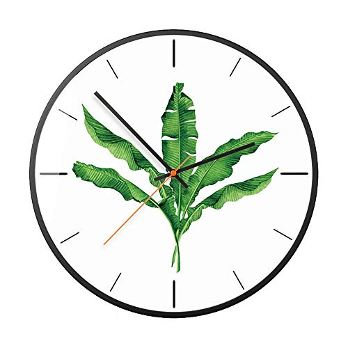 LIUXING-Home Reloj de Pared Reloj de Pared de la Pared Verde de la Planta Nordic Style Style Reloj de Pared for la Sala de Estar Sala (Color : B, Size : 12 Inches)