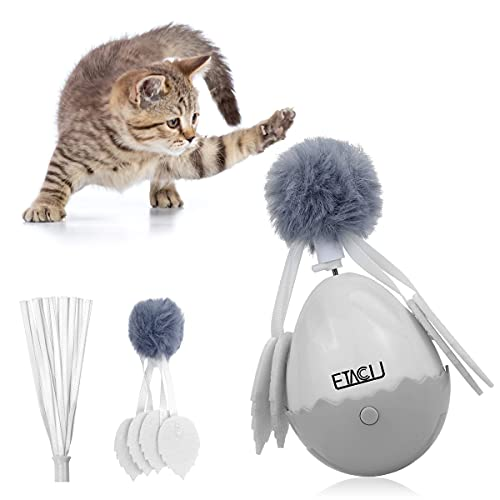 ETACCU 猫/ねこ/ネコ おもちゃ 人気 電動 ボール 自動回転 動く 羽毛玩具 猫じゃらし 交換用 羽 つき 運動不足 ストレス解消 安全素材 猫のおもちゃ 猫遊びボール
