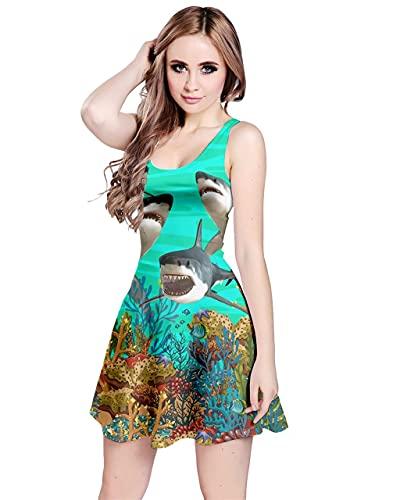 Patterned Sharks Sleeveless Dress