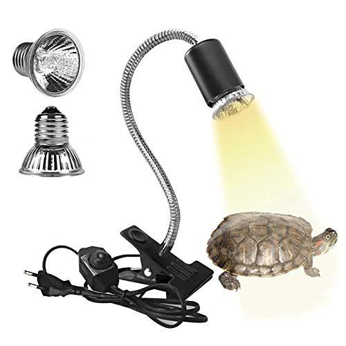 Eilinco Wärmelampe Schildkröte, 25W+50W Reptilien Heizlampe, E27 UVA+UVB Terrarium Waermelampe für Reptilien/Eidechsen/schildkröten/Schlangen