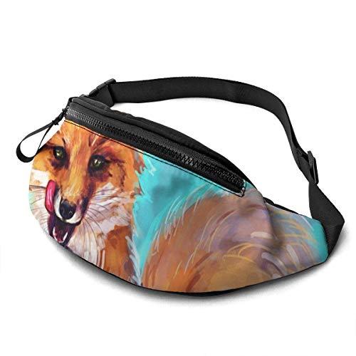 FengLiuAiShuaiGe Pochette de Hanche Fox Art Fanny Pack Fashion Waist Bag,