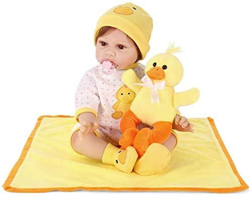 NMQQ Muñecas Reborn Realistas para Bebés 55 Cm Pato Amarillo Pequeño Vinilo De Silicona Suave Niño Playmate Bebé Recién Nacido Juguete De La Vida Real