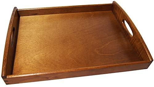 Plateau de service en bois clair Noyer vernis ou bois d'acajou rouge foncé, 40 x 30 x 6 cm