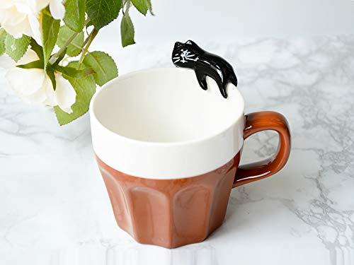 Winpavo Mugs Tasses Tasse en Céramique De Chat Tridimensionnel Tasse Tasse De Couchage De Chat De Brigade Mignon, Tasse Brune De Chat Noir