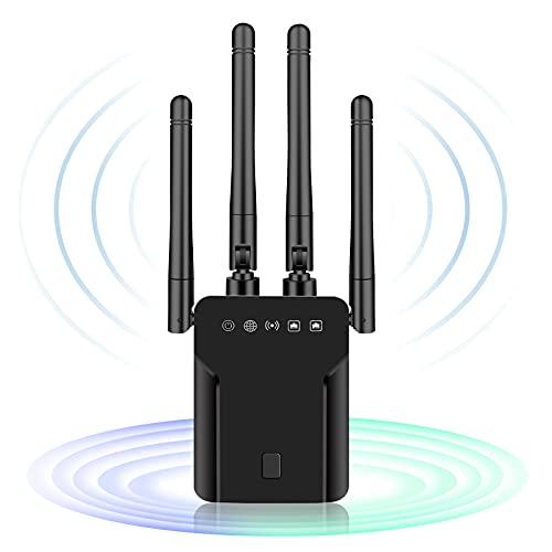 CINEMON Ripetitore WiFi Wireless WiFi Extender 1200 Mbit/s, Repeater WiFi con connessione LAN, 5GHz Ripetitore Segnale WiFi Casa, Copertura Fino a 200 m², Funziona con Tutti i Router WLAN (Nero)