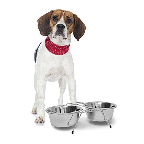 Relaxdays 10019115_395 Ciotole Rialzate per Cani in Acciaio Inox con Supporto, Scodella Doppia per Gatti in Set, 0,85 l Ciascuna, Argento