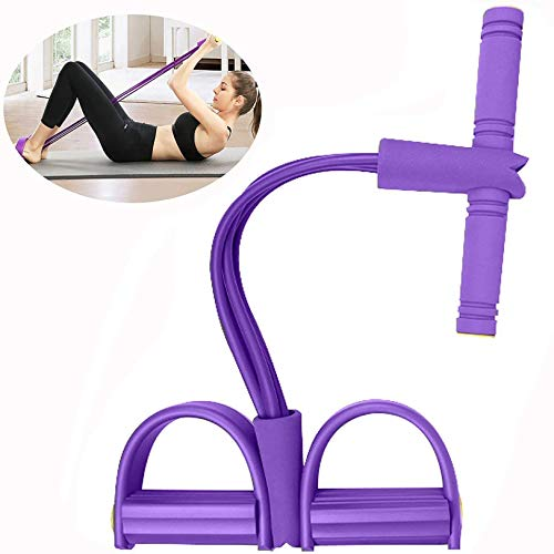 N A 4-Tube Natural Latex Sit-up Bodybuilding Expander- Elastic Pull Rope Fitness Equipment-Pedal Resistance Band for Abdomen/Waist/Arm/Yoga Stretching Slimming Training (Purple)