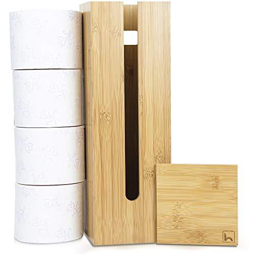 HENNEZ® Toilettenpapier Aufbewahrung, Klopapier Aufbewahrung, Ersatzrollenhalter Toilettenpapier, Toilettenpapierhalter stehend, Klopapierhalter stehend, Klorollenhalter stehend, Klorollenaufbewahrung