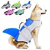 Dog Life Jackets, Ripstop Pet Floatation Life Vest for Small, Middle, Large Size Dogs, Dog Lifesaver Preserver Swimsuit for Water Safety at The Pool, Beach, Boating (Large, Blue Shark)