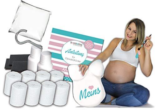 XXL bambelina Babybauch Gipsabdruck Komplett-Set incl. Glättung, Aufhängung und Veredelung, 6 in 1 auch für Zwillingsbauch, Deutsches Produkt