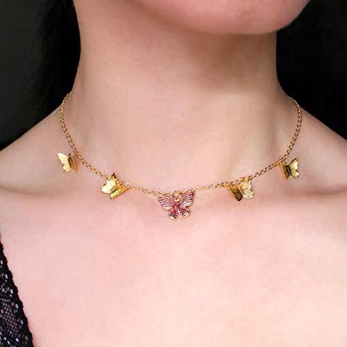 Daman Gargantilla de Mariposa Boho para Mujeres y niñas, Gargantilla de Cadena Simple con Colgante de Estrella, Mariposa Grande