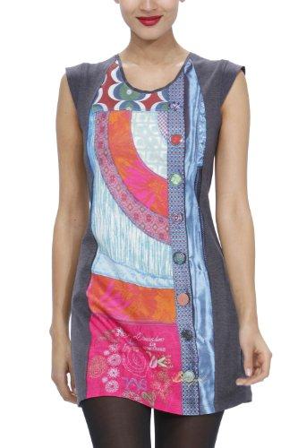 Desigual - Vestito mini, colletto tondo, manica corta, donna, Grigio (Grau (Gris Vigore Oscuro 2043)), M