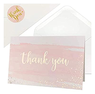 Thank You Cards for Baby Shower | Wedding | Bridal Shower | Business, 48 Blank Notes with Envelopes & Stickers, Gold Foil Watercolor Thank You Greeting Cards