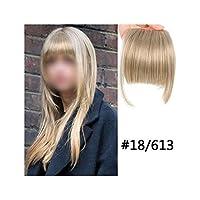 ナチュラルブラックブラウン人工毛偽フリンジヘアピースの毛前髪エクステンションクリップでニートフロントクリップ、#18,6Inches