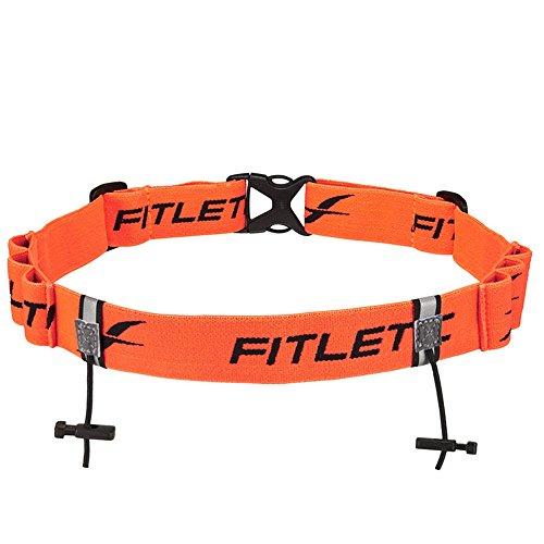Fitletic Race Bib Belt with Gel Loops   Race Number Belt for Triathlon, Trail Running, Marathon Ironman, 5k, 10k   RN06-08 Race 2 Orange
