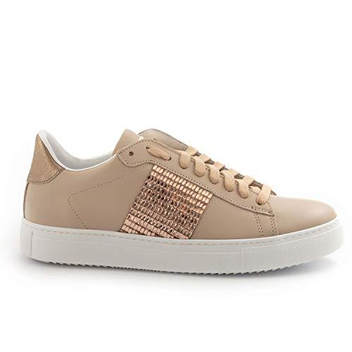 Stokton - Pink Leather 760 D Sneakers with Strass - 760 DVITELLO Cipria - 36