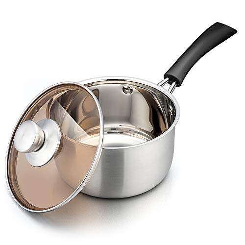 TeamFar Saucepan with Lid, 2 qt Sauce Cooking Pot Milk Pan Stainless Steel, Professional with Long Heatproof Handle for Home Kitchen Restaurant, Healthy & Non Toxic, Multi-use & Dishwasher Safe
