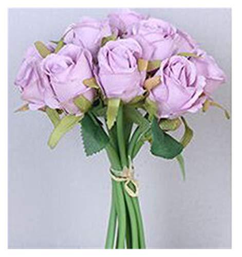 YSDSPTG Künstliche Blumen 12PCS Künstliche Rose Blumen Braut Bouquet Champagner Rosa Rot Seide Blumen Rose für Home Braut Hochzeit Party Festival Decor Freizeit, Haus & Garten (Farbe : H11)