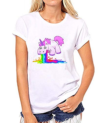 Camiseta Mujer - suéter - Camiseta - Manga Corta - Unicornio - Arcoiris - Multicolor - Adultos - Mujer - niña - Idea de Regalo - Verano - Cosplay - Talla XL