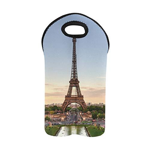 Wein Einkaufstasche Eiffelturm In Paris Frankreich Symbol 2 Flasche Weinträger Doppelflaschenträger Weinträger Tragetasche Dickes Neopren Weinflaschenhalter hält Flaschen geschützt