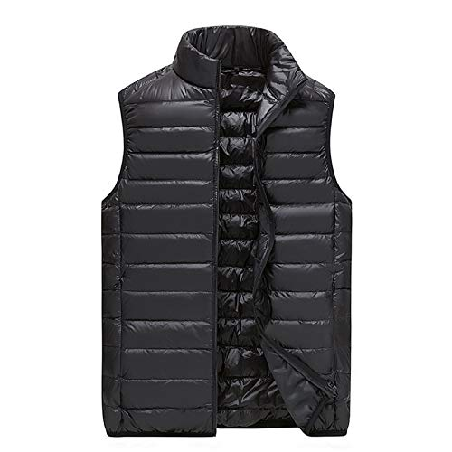Men's Casual Padded Vest Coats Zipper Pocket Nylon Waterpoof Sleeveless Jackets Gilet for Winter Sports